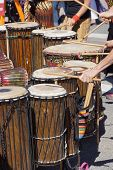 foto of penticton  - Drummers playing at a Saturday market Penticton British Columbia Canada