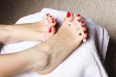 picture of painted toenails  - foot pedicure applying woman - JPG