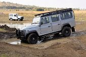 Silver Land Rover Defender 110 Sw On 4X4 Course