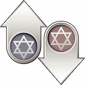 Jewish Star Of David Icon On Up And Down Arrow Buttons