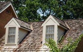 image of gabled dormer window  - Two Wood Dormers on a wood shingled roof - JPG