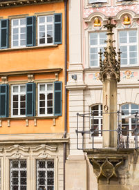 picture of samson  - Old pillory post above fountain at Schwabisch Hall Germany - JPG
