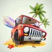 foto of  jeep  - summer jeep car on beach with palm - JPG
