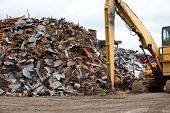 foto of scrap-iron  - Scrap metal piles in a recycling center - JPG