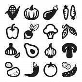 Vegetables Flat Icons. Black