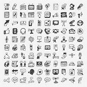 pic of tv sets  - doodle communication icons set  - JPG