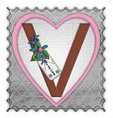 image of v-day  - The letter V in the alphabet set  - JPG