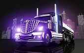 image of tank truck  - Violet Glowing Tanker Truck and the City Skyline 3D Illustration - JPG