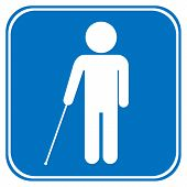 picture of blind man  - Blind disabled sign on white background - JPG