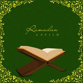 stock photo of quran  - Open religious islamic book Quran Shareef on golden floral decorated green background for holy month of Muslim community Ramadan Kareem - JPG