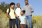 foto of pacific islander ethnicity  - Grandparents and grandchildren on country hike - JPG