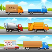 stock photo of dump-truck  - Realistic truck lorry transport van auto set on road outdoor background vector illustration - JPG