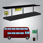 pic of motor-bus  - bus stop and one red bus eps10 - JPG