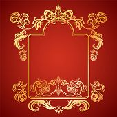 image of gargoyles  - Vector illustration frame with floral ornament and gargoyles gold on a red background - JPG