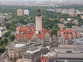 image of leipzig  - Aerial view of the Leipzig Neues Rathaus meaning New Town Hall is the seat of the Leipzig city administration designed by Hugo Licht in 1897 - JPG