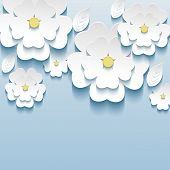 Постер, плакат: 3D Flowers Sakura White Trendy Beautiful Wallpaper