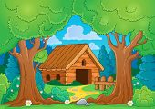 pic of wooden shack  - Tree theme with wooden building  - JPG