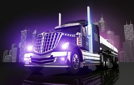 picture of tank truck  - Violet Glowing Tanker Truck and the City Skyline 3D Illustration - JPG
