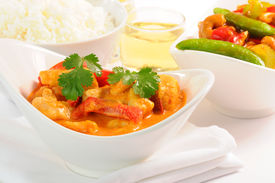 pic of thai food  - Delicious and colorful bowl of thai curry chicken - JPG