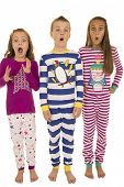 picture of pajamas  - Three children wearing winter pajamas startled expression - JPG