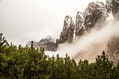 picture of italian alps  - a mountain between the fog in the italian alps - JPG