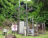 foto of substation  - Electricity substation with an electrical power equipment - JPG