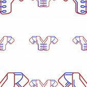 stock photo of breastplate  - Seamless vector pattern with contour protection frame for American football players in blue and red colours on white background - JPG