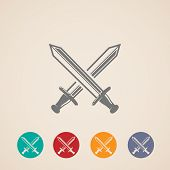 picture of sword  - set of crossing swords icons - JPG