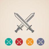 stock photo of crossed swords  - set of crossing swords icons - JPG
