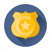 image of iron star  - police badge icon trendy vector flat illustration - JPG