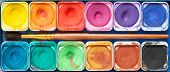 picture of paint palette  - Set of watercolor paints and paintbrush - JPG