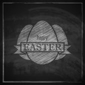 image of happy easter  - chalk easter illustration with eggs and ribbon on blackboard background - JPG