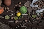 picture of thread-making  - Still life of ingredients for making potions witch - JPG