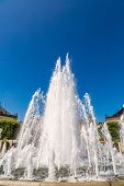 stock photo of copenhagen  - A fountain in the Amalie Garden and Amalienborg in Copenhagen Denmark - JPG