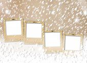 image of snow-slide  - Old paper slides on snow abstract grunge background - JPG