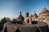 picture of arjuna  - Borobudur Temple at morning Yogyakarta Java Indonesia. ** Note: Shallow depth of field - JPG