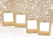 stock photo of snow-slide  - Old paper slides on snow abstract grunge background - JPG