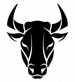 picture of bull  - Stylized black bull face on the white background - JPG