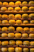 stock photo of meals wheels  - Cheese wheels on the shelves in Amsterdam store - JPG