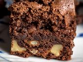 picture of brownie  - Delicious brownie made of chokolate and nuts - JPG