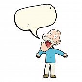pic of terrifying  - cartoon terrified old man with speech bubble - JPG