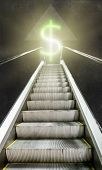 picture of escalator  - The escalator up towards luminous sign of the dollar - JPG