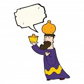 stock photo of three kings  - one of the three wise men with speech bubble - JPG
