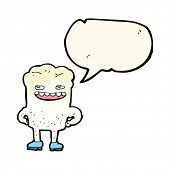 stock photo of bad teeth  - cartoon bad tooth with speech bubble - JPG