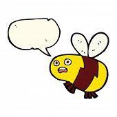 picture of bee cartoon  - cartoon bee with speech bubble - JPG