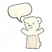 stock photo of bear cub  - cartoon polar bear cub with speech bubble - JPG