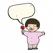 image of obesity children  - cartoon fat child with speech bubble - JPG