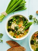 image of nettle  - Soup with pearl barley nettle carrot and leek - JPG