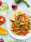 image of vinegar  - Spring salad with bell pepper spanish onion leek and blackberry vinegar - JPG