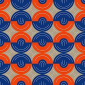 stock photo of hemisphere  - Vector seamless pattern background of orange and blue hemispheres - JPG